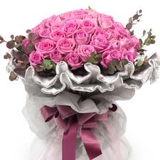 분홍50송이 원형꽃다발